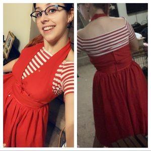 Red Marilyn halter dress